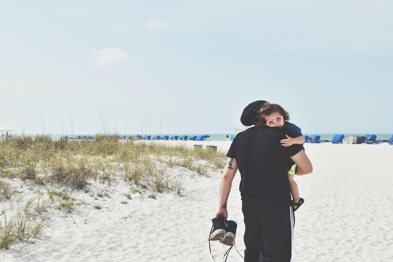 Claudio and Atlas on beach
