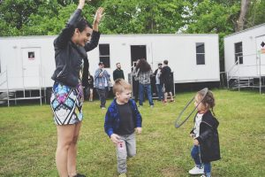 Playing outside backstage