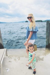 Mom and Child posing on lake