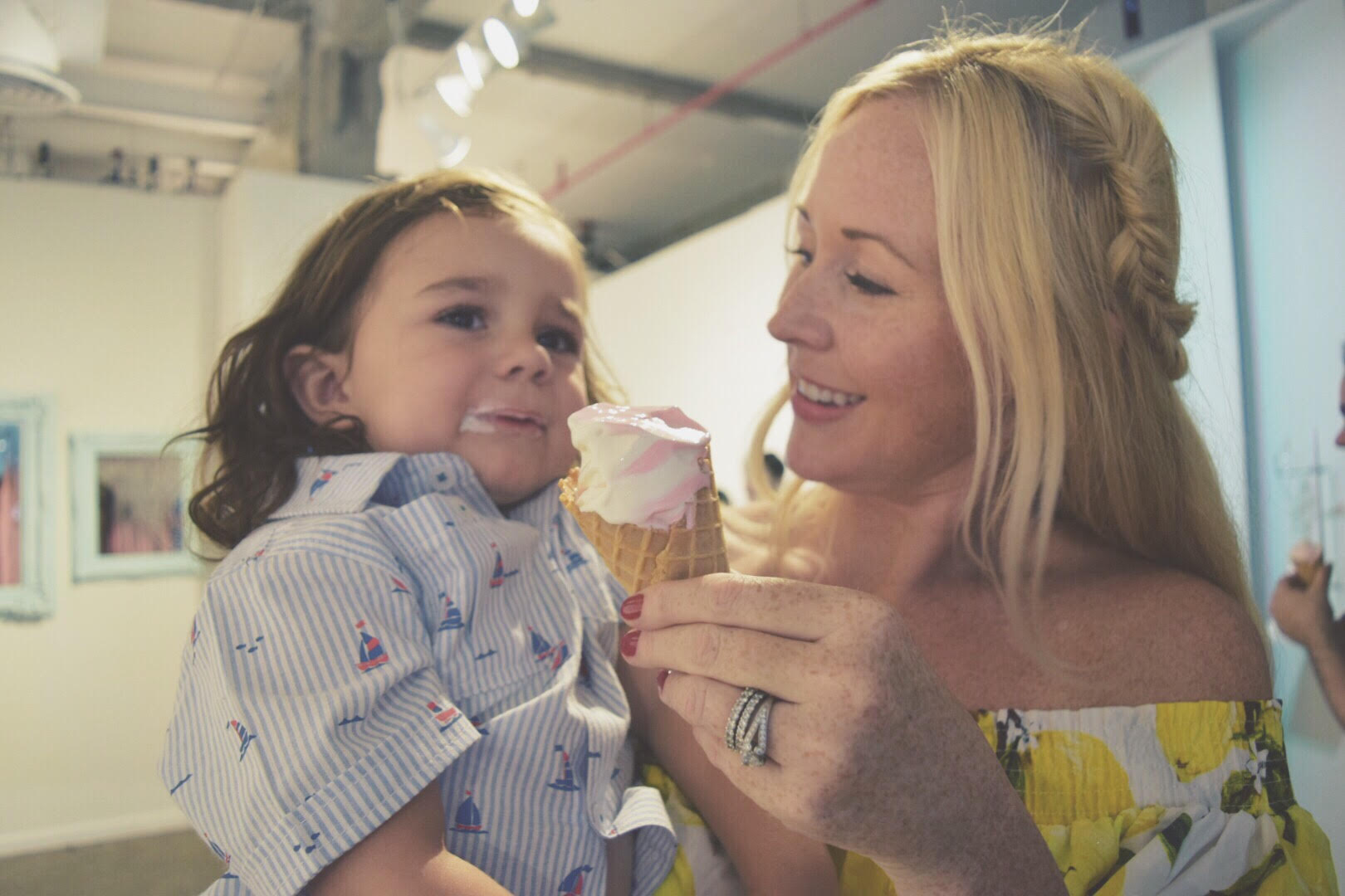 mom and son at museum of ice cream