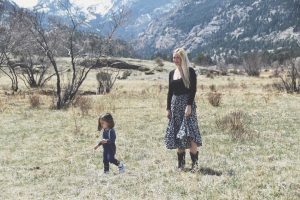 Mama and Child in front of mountains