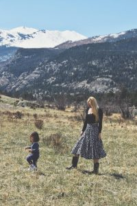 Mother and Child in front of mountains