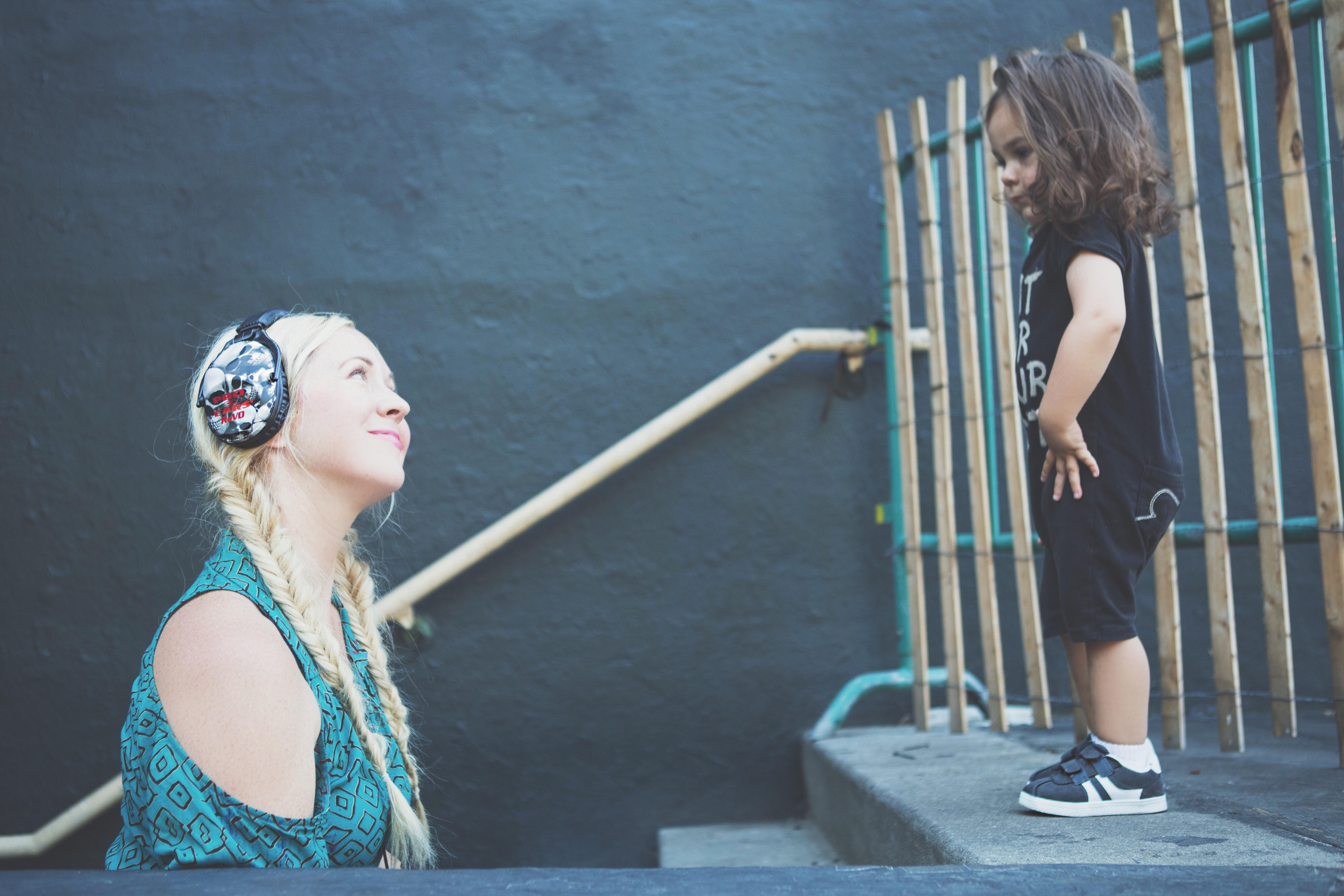 Chondra and Atlas Sanchez playing with ear protection